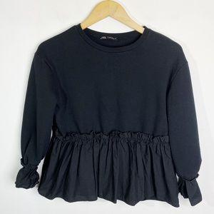 Zara Ruffle Hem Sweatshirt Black Size S